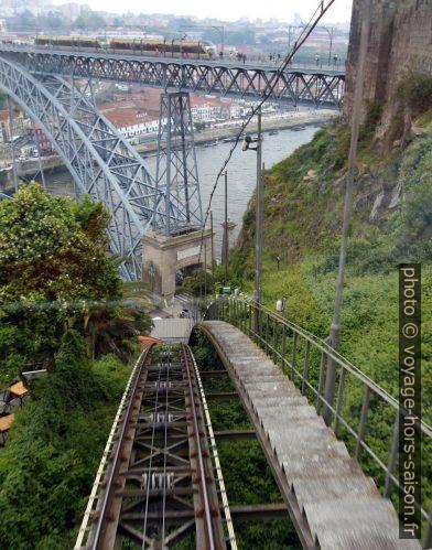 Rails courbées du Funicular dos Guindais. Photo © André M. Winter