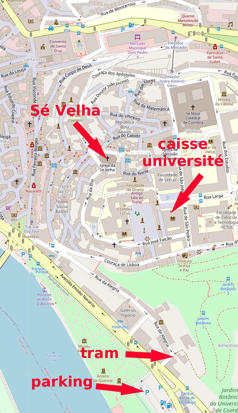 Carte OpenStreetMap de Coimbra