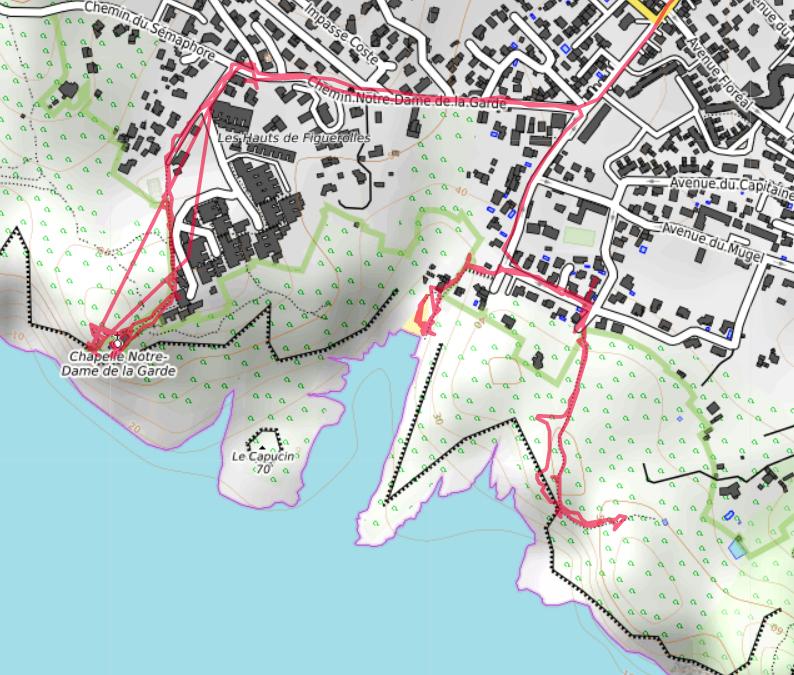 Carte OpenTopoMap de la côte sud de la Ciotat