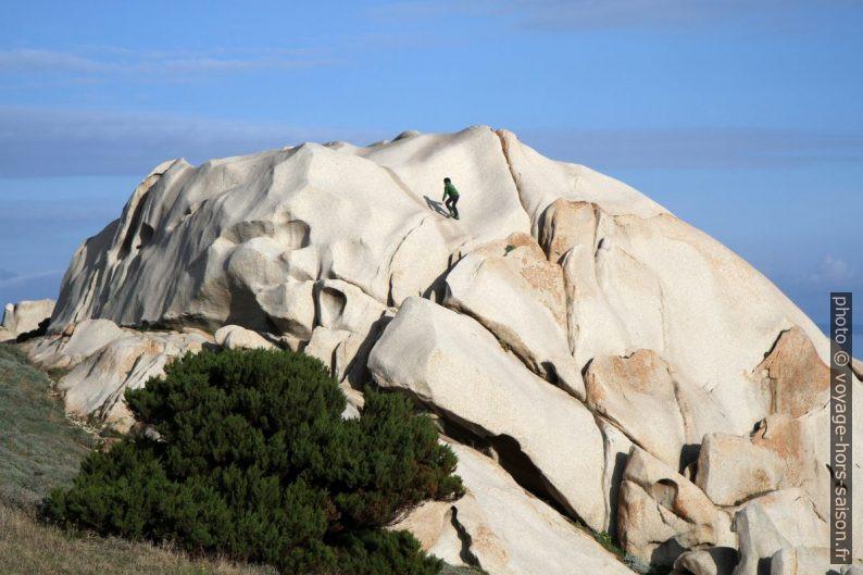Nicolas grimpe sur un grand rocher de granit. Photo © Alex Medwedeff