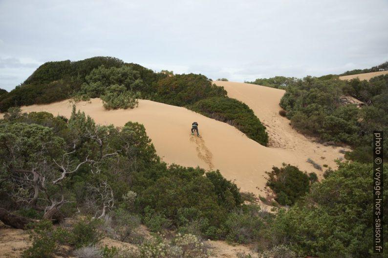 Nicolas grimpe sur une dune fraîchement ammassée. Photo © Alex Medwedeff