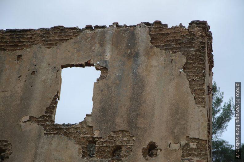 Mur de briques de mauvaise qualité en désagrégation. Photo © Alex Medwedeff