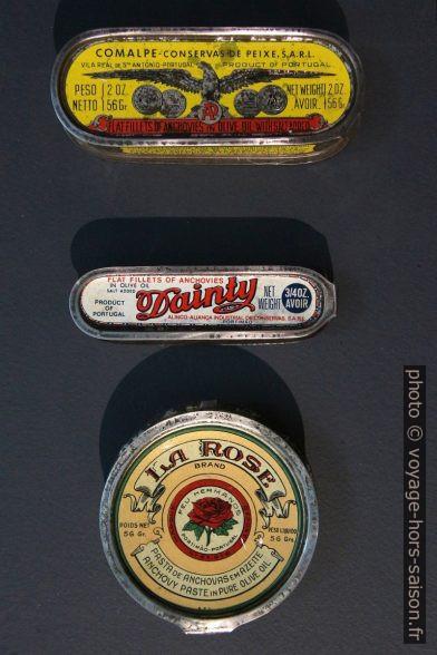 Petites boîtes de conserve d'anchois de différentes marques. Photo © André M. Winter