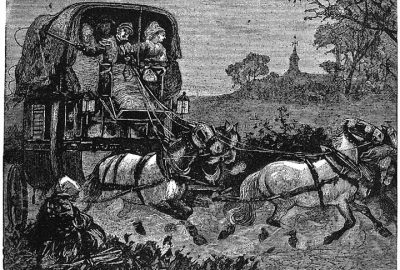 Vignette d'une diligence tiré de Tafereelen uit Italië de Charles Dickens