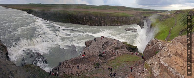 Panorama des deux cascades du Gullfoss. Photo © André M. Winter