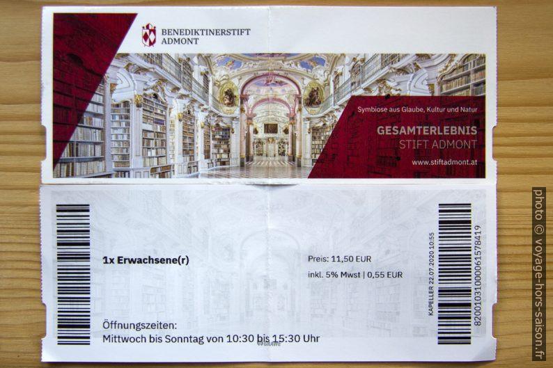 Ticket d'entrée pour Admont. Photo © André M. Winter