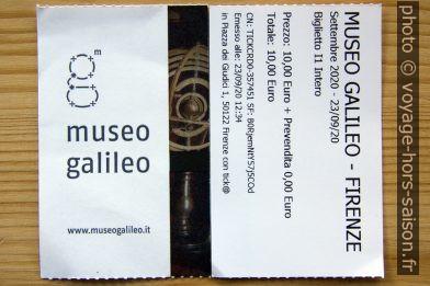 Ticket du Musée Galilée de Florence. Photo © André M. Winter