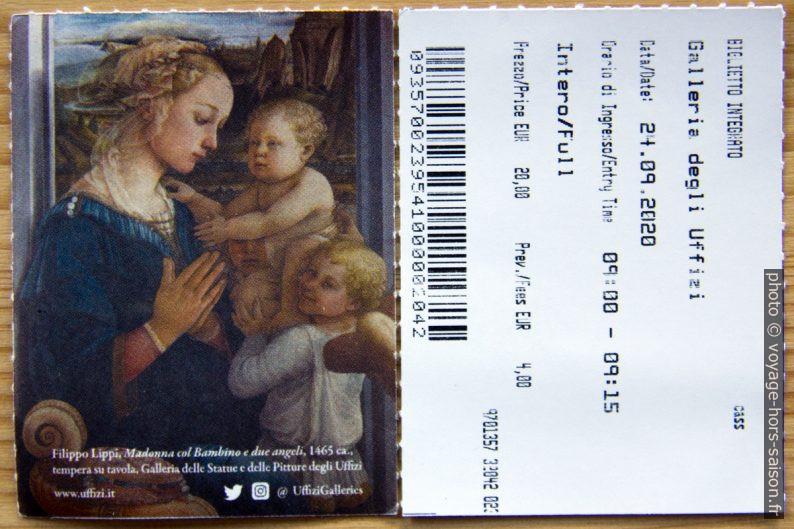 Tickets de la Galerie des Offices de Florence. Photo © André M. Winter