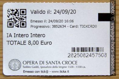 Verso d'un ticket de l'église Santa Croce à Florence. Photo © André M. Winter