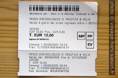 Ticket de Paestum. Photo © André M. Winter