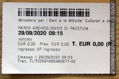 Ticket du musée de Paestum. Photo © André M. Winter