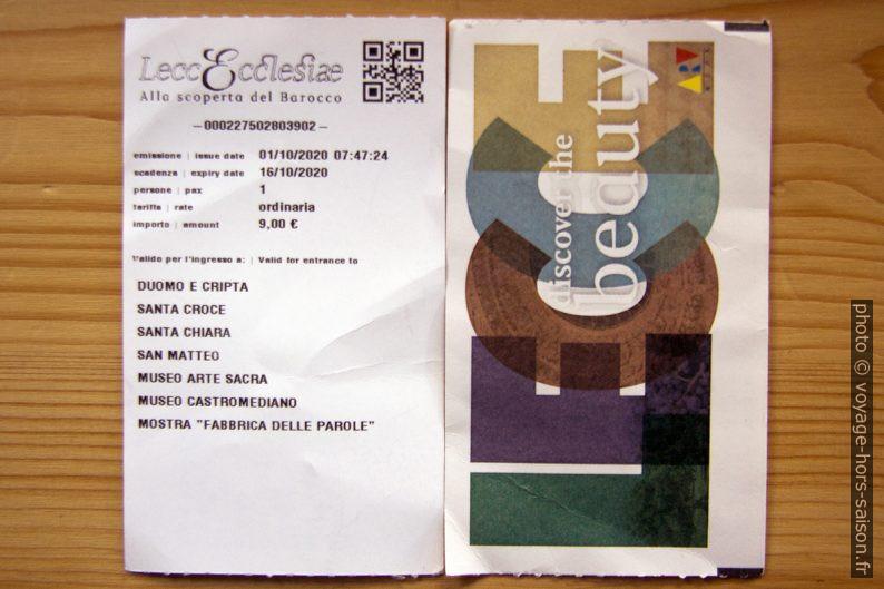 Ticket pour les églises payantes de Lecce. Photo © André M. Winter