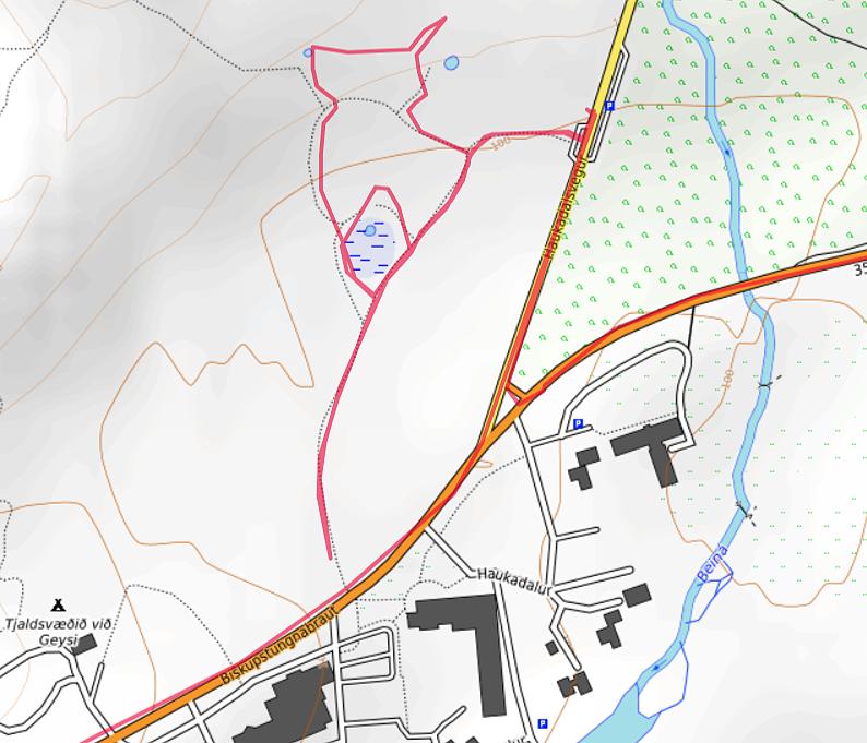 Carte OpenTopoMap de Geysir