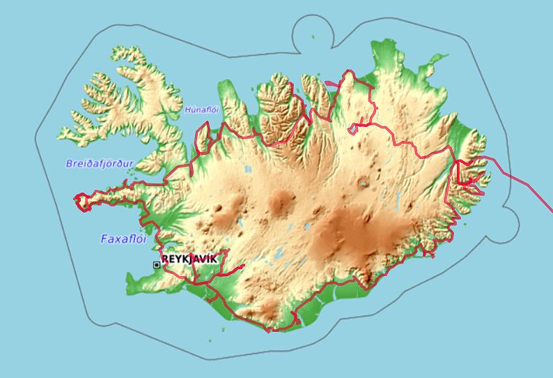 Carte OpenTopoMap de notre tour d'Islande en 2009