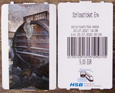 Carte d'entrée pour le château de Heidelberg. Photo © André M. Winter