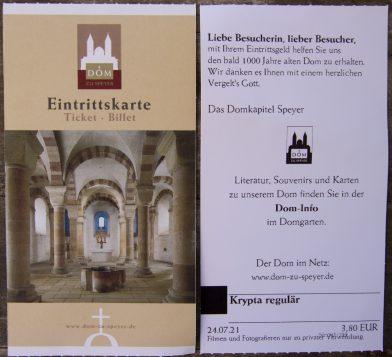 Carte d'entrée pour la crypte de Speyer. Photo © André M. Winter