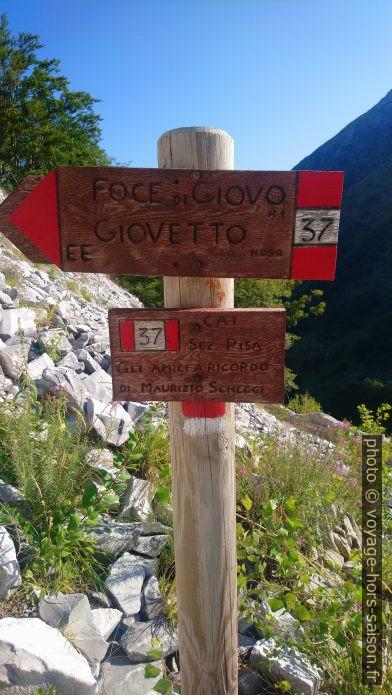 Panneau indicateur vers le col Foce di Giovo. Photo © André M. Winter